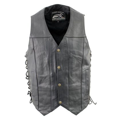 Event Leather XS5390 Men's 10 Pocket Black Classic Side Lace Leather Vest