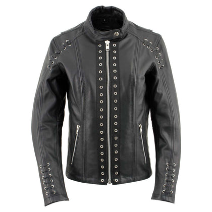 Xelement XS631 'Raven' Ladies Black Premium Cowhide Leather Jacket with Zip-Out Liner