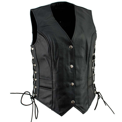 Ladies XS761 Classic Braided Leather Vest with Side Laces