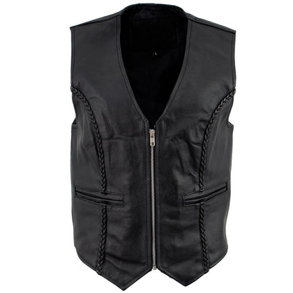 Ladies XS776 Black Braided Motorcycle Vest with Zipper Closure