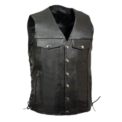 Z1R1360 Men's 30-30 Black Collarless Motorcycle Leather Vest with Side Laces