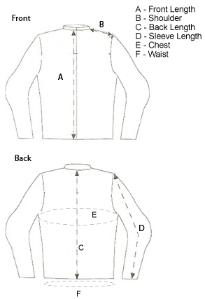 Vulcan VTZ-900 and VTZ920 Jackets Size Chart