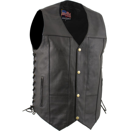 "USA Leather 1204 ""Dime"" Classic Leather Men's Ten Pocket Vest with Side Laces"