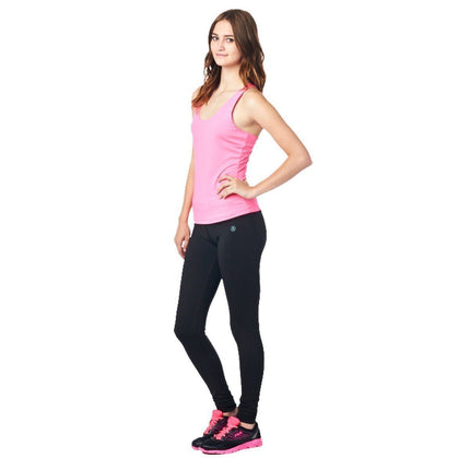 LA Society Women's Yoga Fitness Pink/Black Sleeveless Tank Top and Yoga Legging Pants