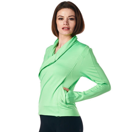 LA Society Women's Green Yoga Sport Fitness Running  Wrap Zipper Design Jacket
