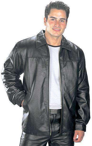 USA Leather 'Classic' Mens Black Leather Hip Length Jacket