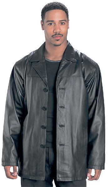 1710 USA Leather 'Classic' Mens Black Leather Coat