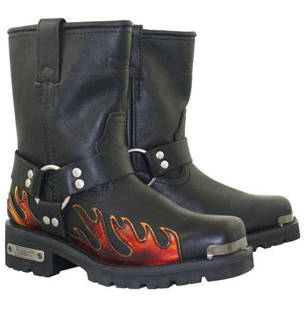 Xelement 2490 Women's Black Harness Motorcycle Boots with Flame