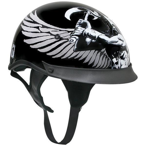 Outlaw T-72 Dual-Visor Glossy Motorcycle Half Helmet with Graphics of Viking God and Viking Symbols