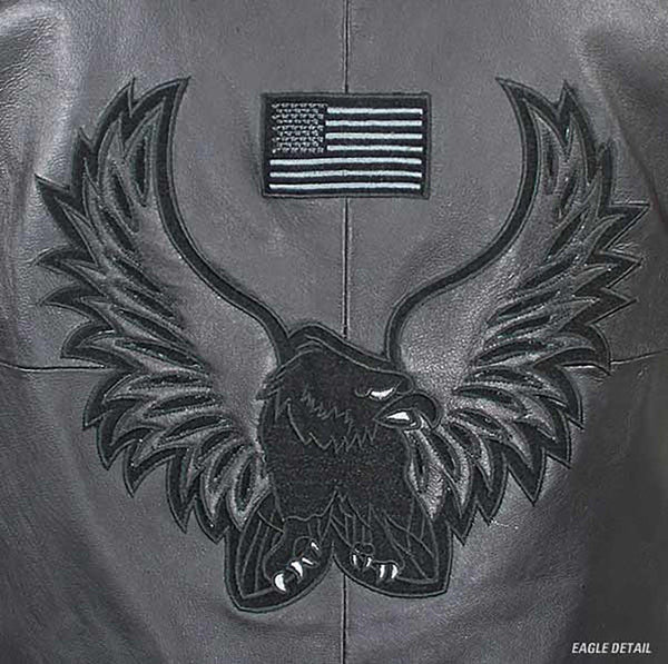 Men's 3011-Vest American Eagle Black Leather Vest by USA Leather