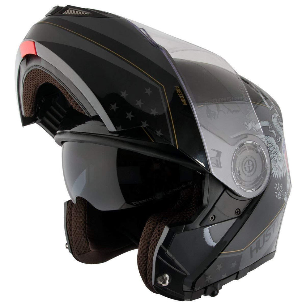 Hustler HT-65 'Freedom Eagle' Gloss Black and Gray Modular Motorcycle Helmet with Drop Down Visor