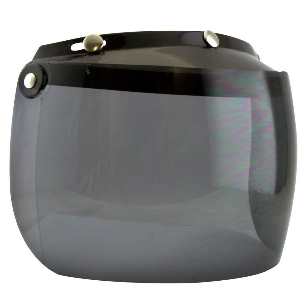 Outlaw Universal 3 Snap-Button Visor with Flip-up Dark Tint Shield for Open Face Helmets