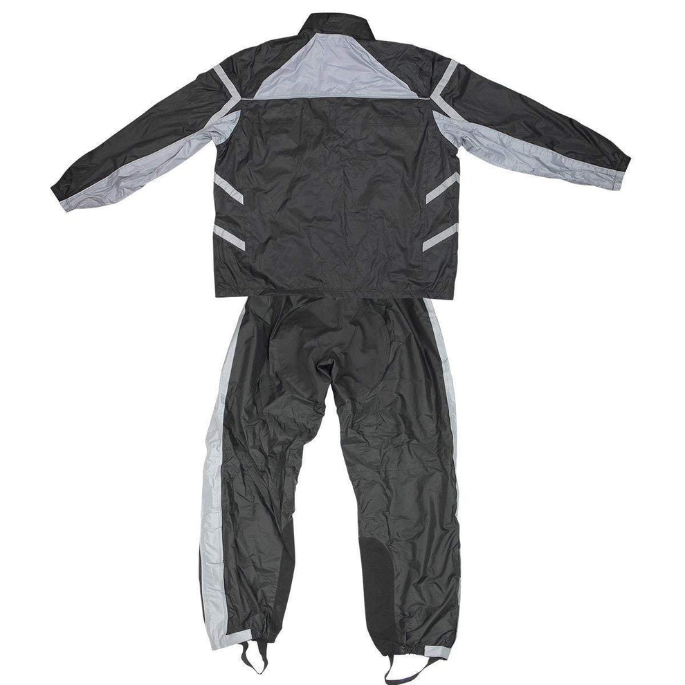 Xelement RN2695 Men's Black/Gray 2-Piece Motorcycle Rainsuit