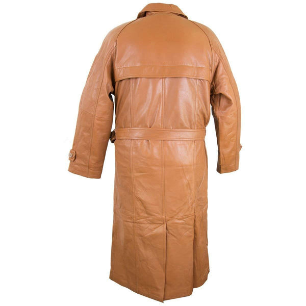 Lucky Leather Men's 326 Soft Touch Cow Brown Cognac Leather Trench Long Coat