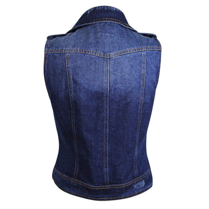 Dolled Up D8PC494N Womens Medium Blue Denim Vest - Small