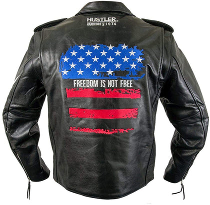 "Hustler HSLJ-700 Men's 'Freedom Is Not Free"" Vintage Leather Motorcycle Jacket"