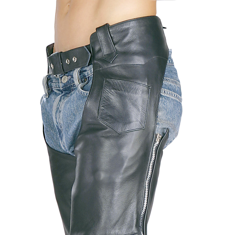 Xelement 7550 'Classic' Black Unisex Leather Motorcycle Chaps