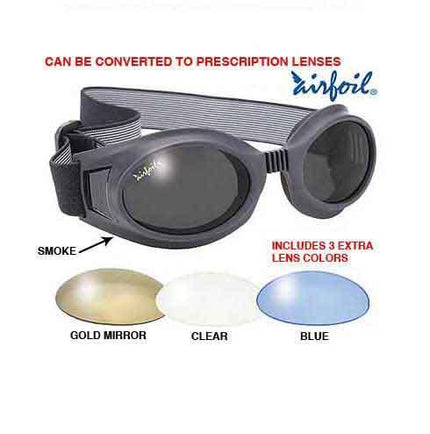 Pacific Coast Airfoil Black Goggles with Interchangeable Polycarbonate Lenses