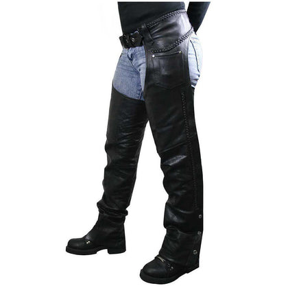 Xelement 7701 Women's Black Braided Leather Chaps
