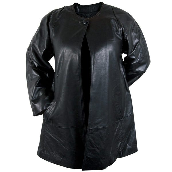 Ladies Lucky Leather 83 Soft Touch Supple Lambskin Collarless Leather Coat with One Button Collar