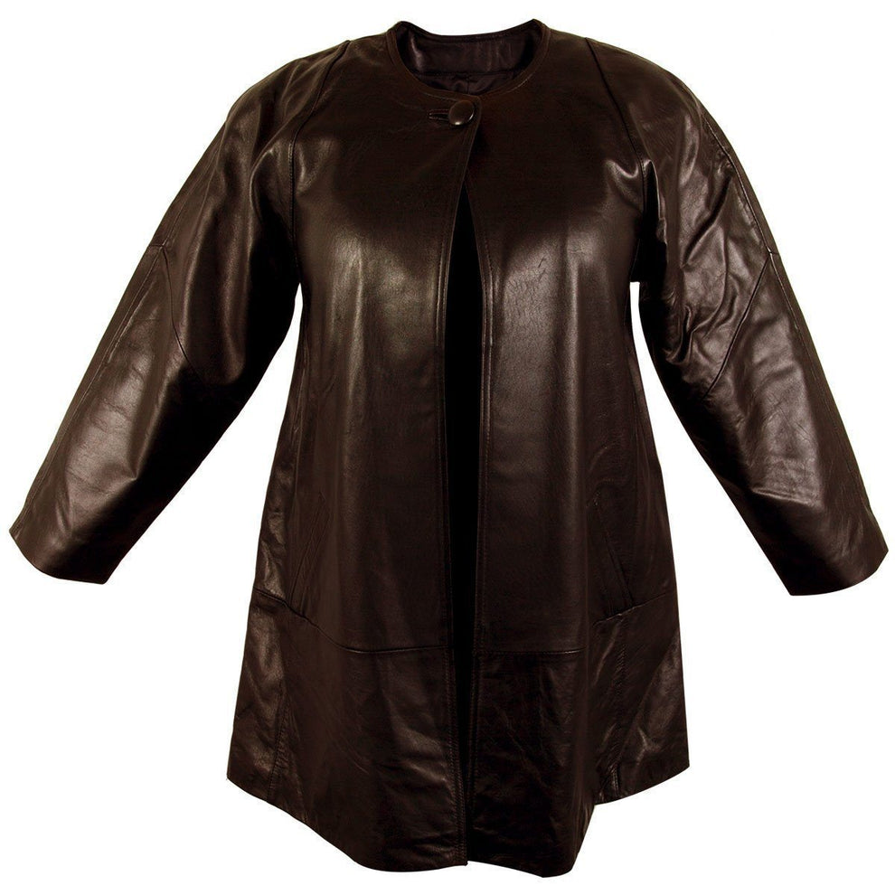 Ladies Lucky Leather 83 Chocolate Brown Soft Touch Supple Lambskin Collarless Leather Coat with One Button Collar