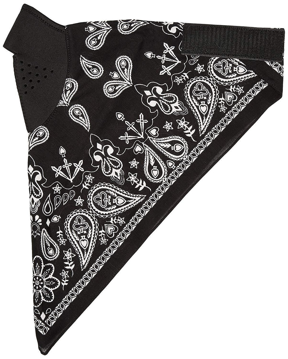 Zan Headgear NeoDanna Black Paisley 100% Cotton Bandanna with Neoprene