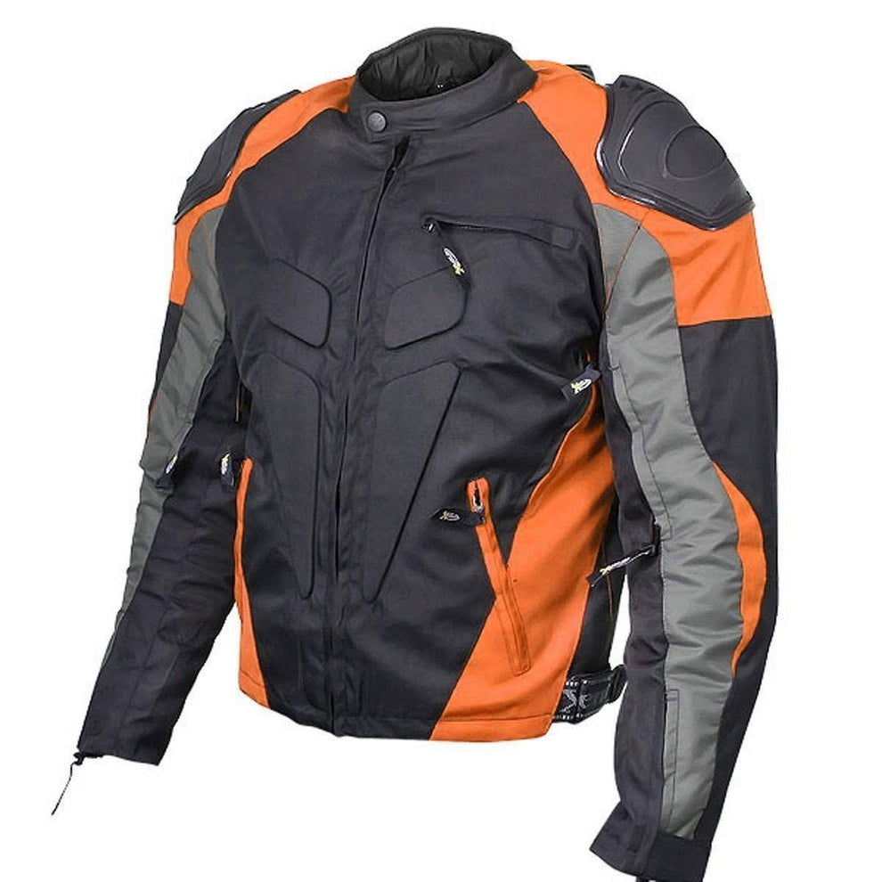 Xelement CF628 Men's Black Armored Textile Racing Jacket