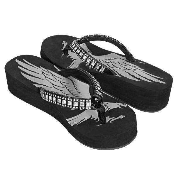 Xelement LU8589 Women's Black Emerald Eagle Sandals