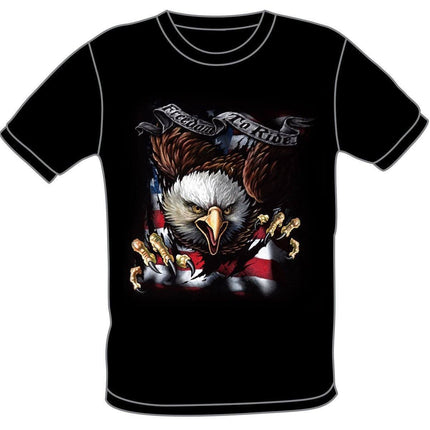 S276 USA Flag Freedom to Ride with Eagle Motorcycle Black T-shirts