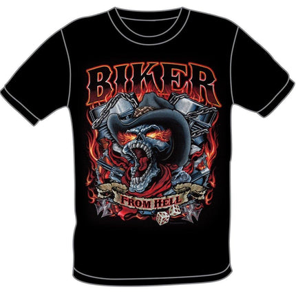 S286 Biker From Hell Skull Black T-Shirt