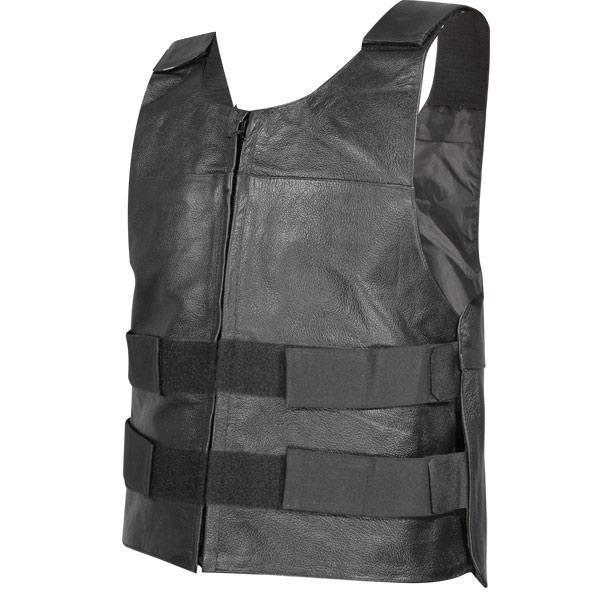 Xelement B263 Men's Black Bulletproof Style Tactical Street Cowhide Leather Vest