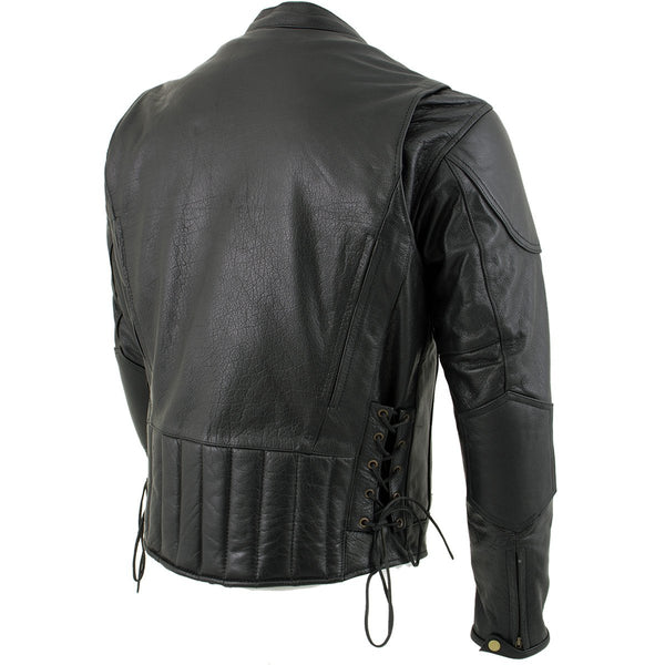 Xelement B7201 'Speedster' Men's Black Top Grade Leather Motorcycle Jacket with Zip-Out Lining