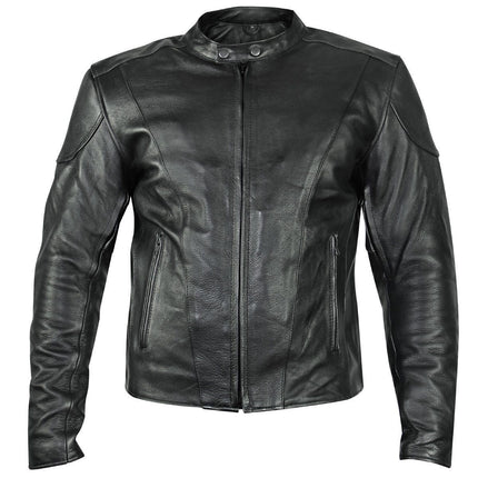 Xelement B7209 'Renegade' Men's Black Leather Motorcycle Jacket with X-Armor Protection