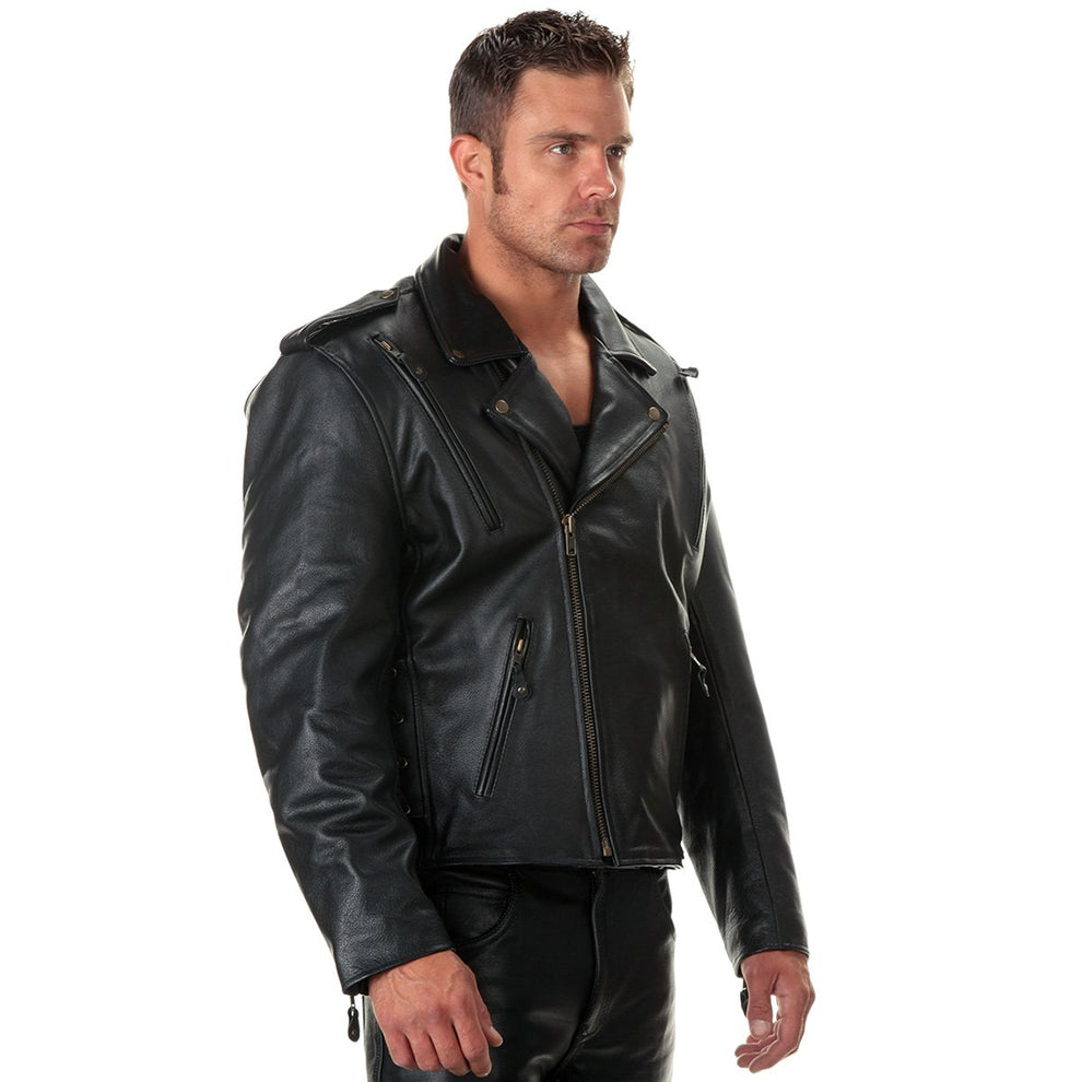 Xelement B7210 'Cool Rider' Men's Black Vented Leather Motorcycle Jacket
