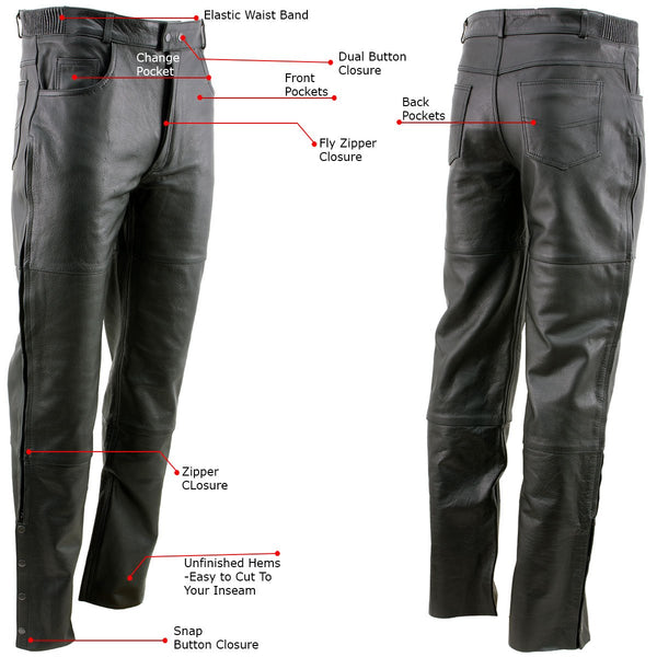 Xelement B7470 Men's Black Premium Leather Motorcycle Overpants with Side Zipper and Snaps