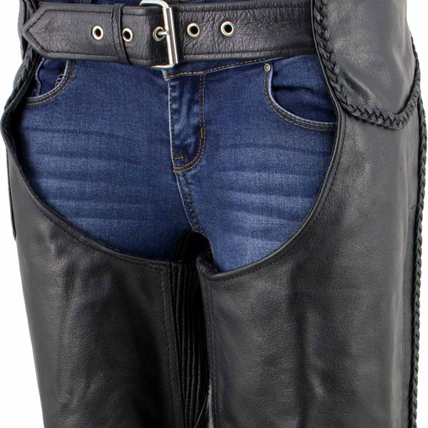 Xelement B7556 Womens Black 'Braided' Zippered Leather Chaps