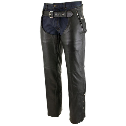 Xelement B7561 Men's Black Leather Chaps with Removable Insulating Liner