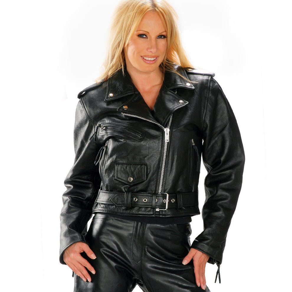 "Officially Licensed Hustler Ladies HSL-800 'Freedom Is Not Free"" Vintage Leather Motorcycle Jacket"