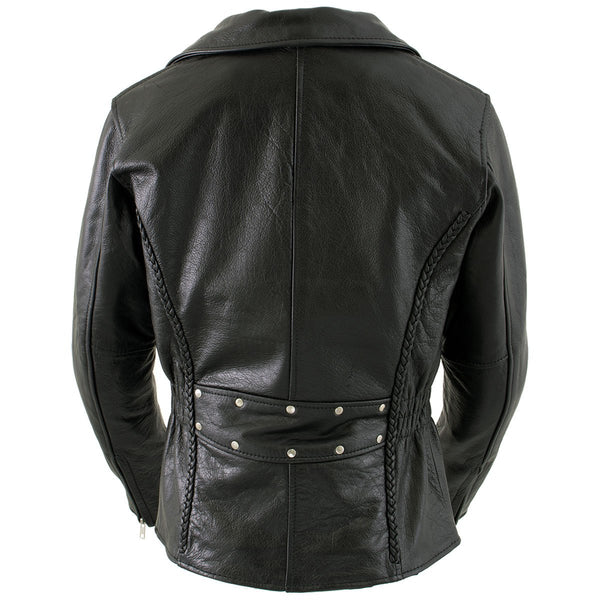 Xelement B8000 LA 'Classic' Women's Black Leather Braided Jacket