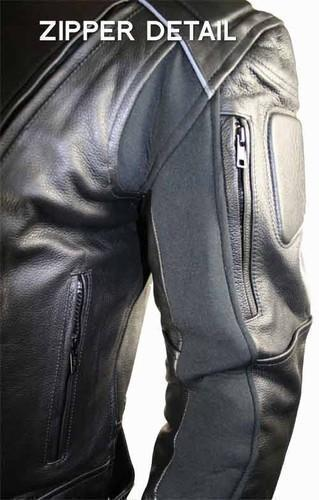 Xelement B9119 Men's 'Frenzy' Black Armored Leather Motorcycle Jacket