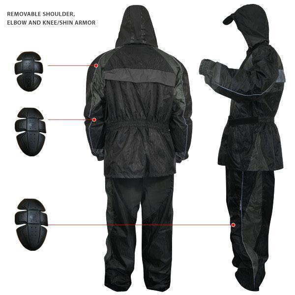 Xelement RN-4727 Men's Black Two-Piece Armored Rain Suit