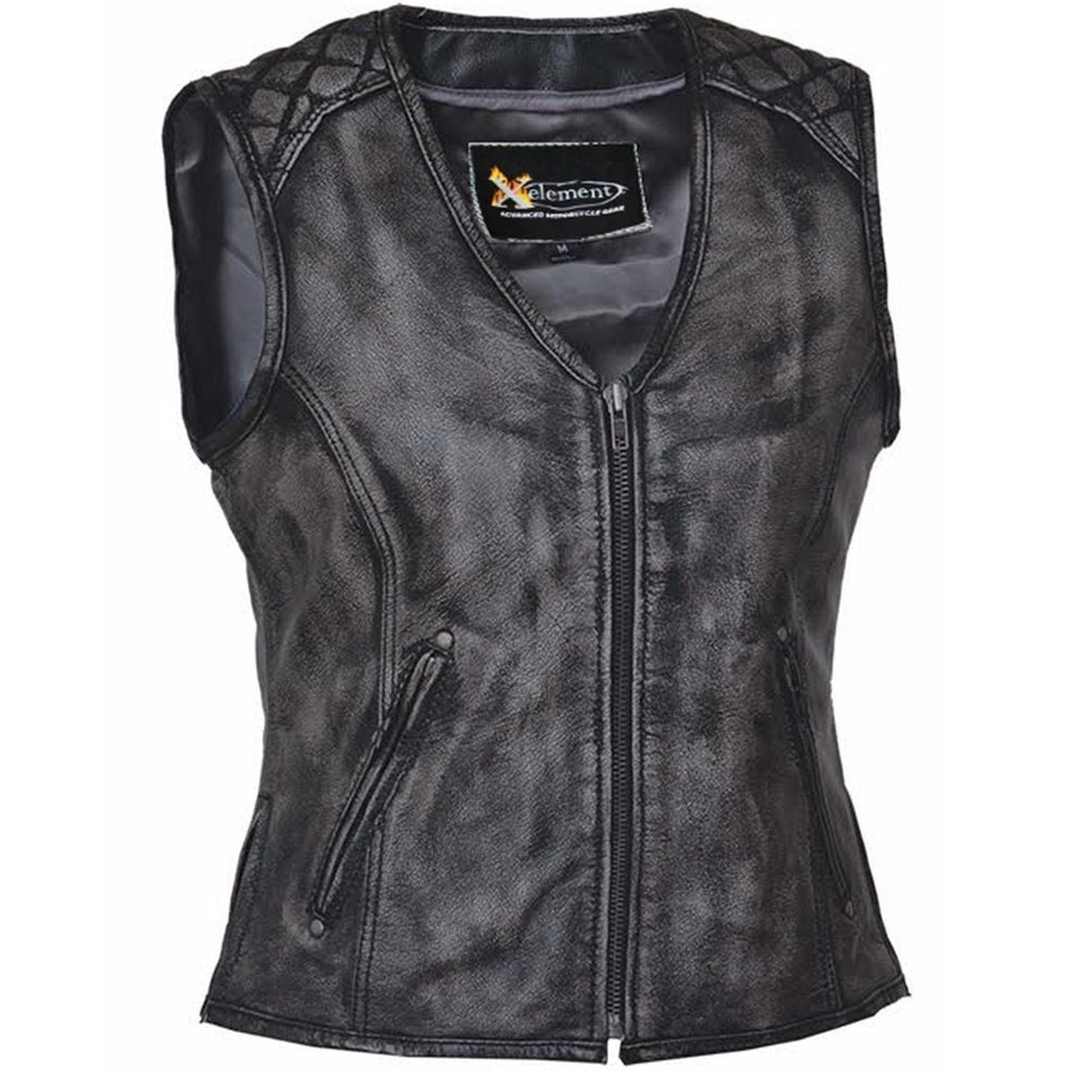 Xelement BXU6865 Urban Armor 'Quilted Shoulders' Women's Amarillo Grey Premium Leather Vest with Gun Pockets