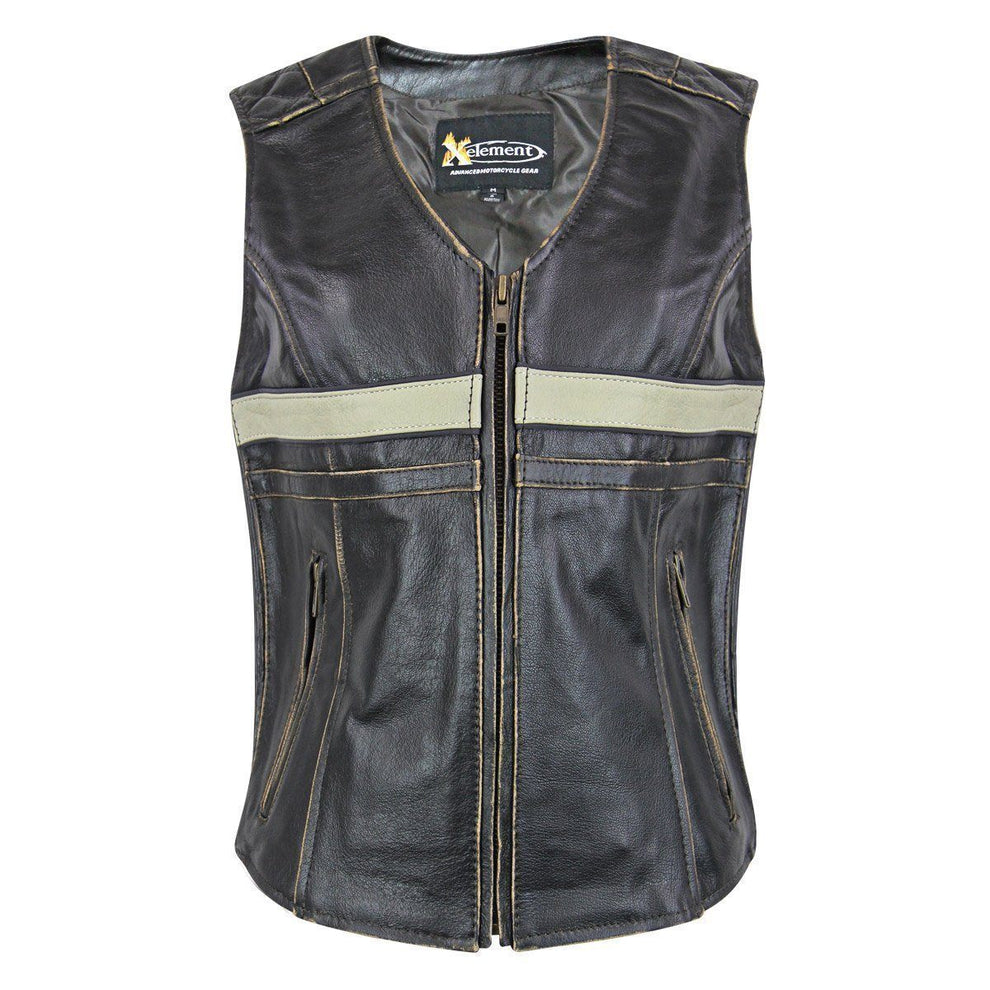 Xelement BXU1903VT Women's Brown Leather Touring Biker Vest