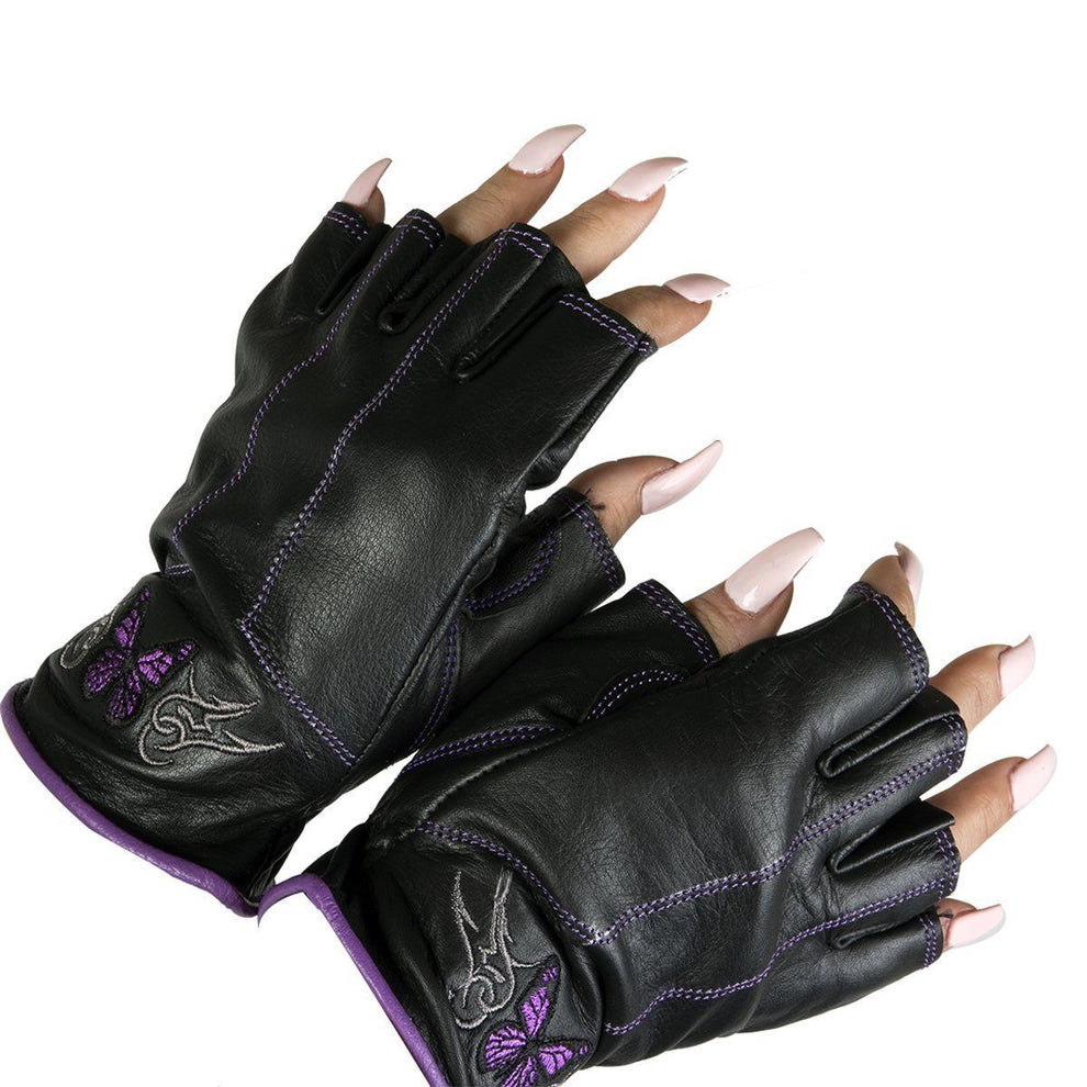 "Xelement BXU8363.17 ""Butterfly"" Purple and Black  Women's  Leather Finger-less Gloves"