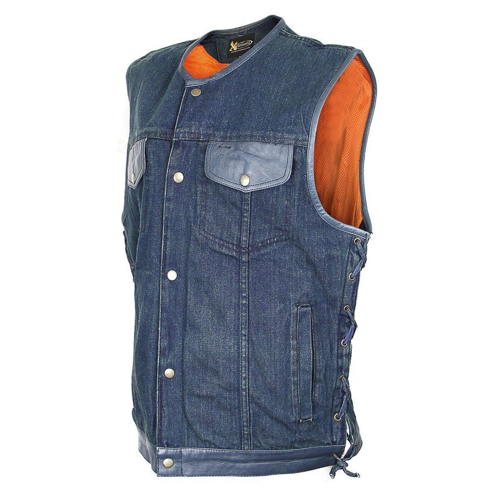 Xelement DMX2240 Men's Blue Denim Lace Gun Pocket Vest
