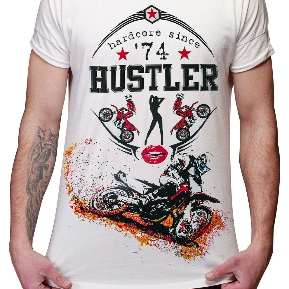 Men's Officially Licensed Hustler HST-500 'Hard Core Motocross' White T-Shirt