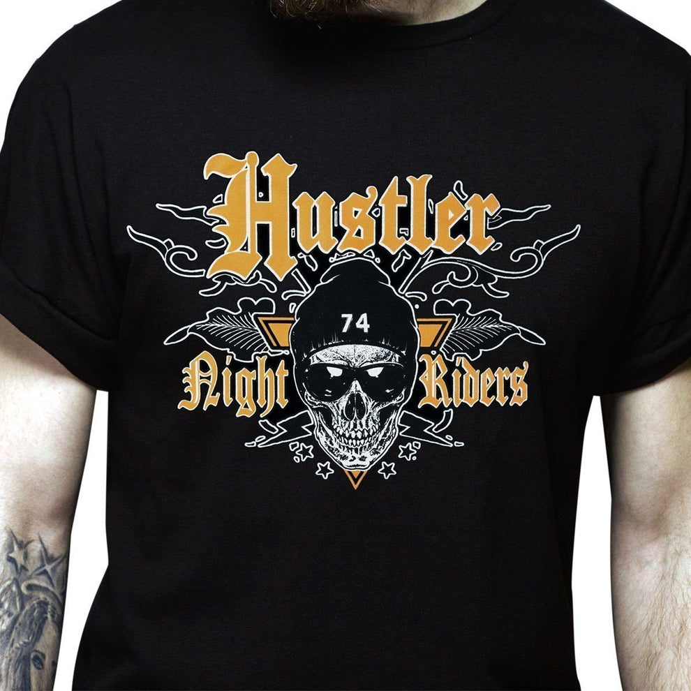 Men's Officially Licensed Hustler HST-520 'Hustler Night Riders' Black T-Shirt