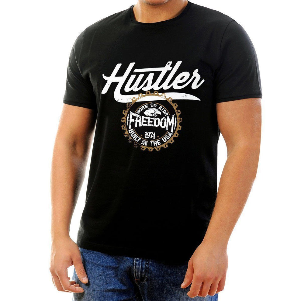 Men's Officially Licensed Hustler HST-540 'Born to Ride Freedom' Black T-Shirt