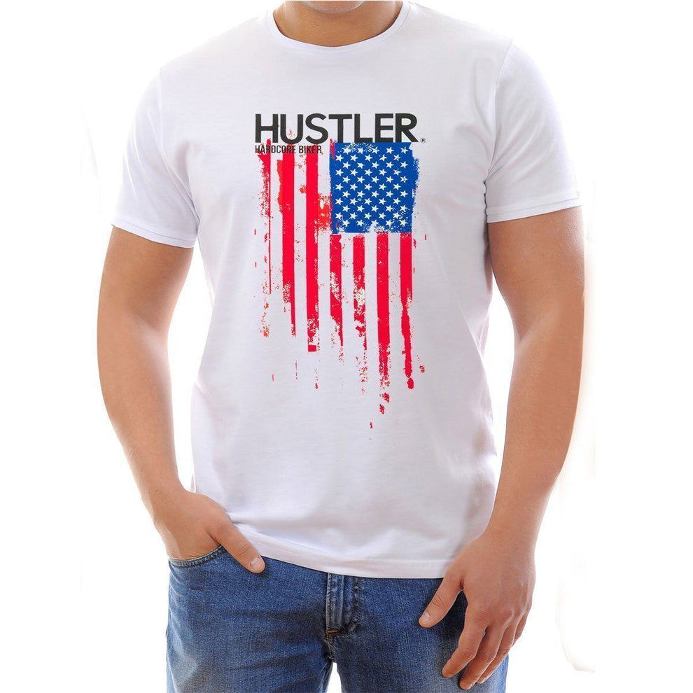 Men's Officially Licensed Hustler HST-560 'Hardcore Biker Color Flag' White T-Shirt