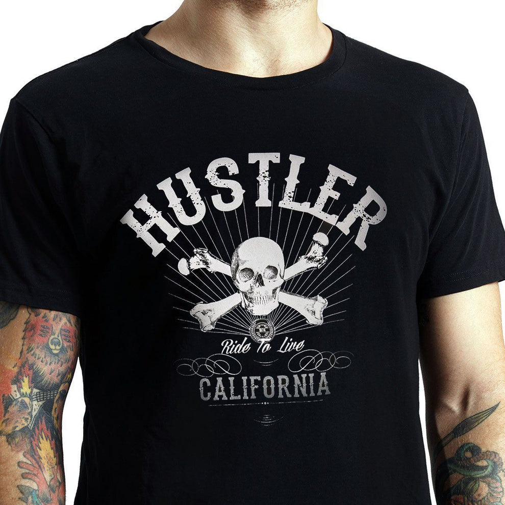 Men's Officially Licensed Hustler HST-580 'Ride To Live' Black T-Shirt